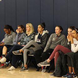 Members of the UConn women's basketball team watch the USA Women's Basketball mini-camp.