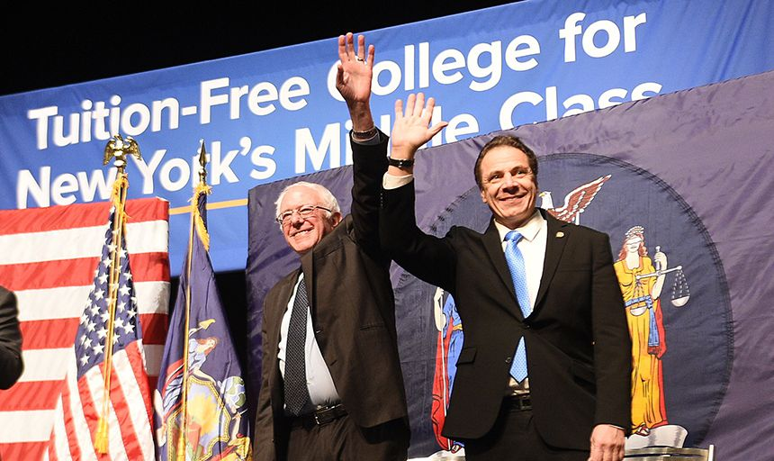 Andrew Cuomo and Bernie Sanders rally for tuition-free college.