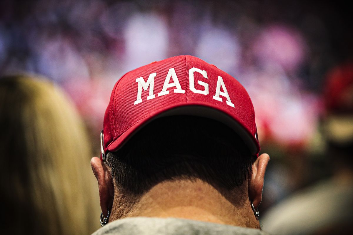 "The back of a man's head wearing a ""MAGA"" hat backward."