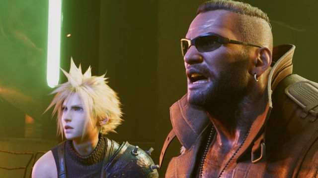 Cloud and Barrett look shocked in a screenshot from Final Fantasy 7 Remake