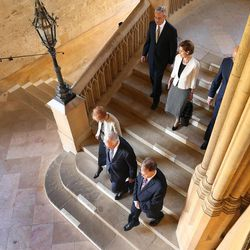 Elder D. Todd Christofferson, of the Quorum of the Twelve Apostles of The Church of Jesus Christ of Latter-day Saints, takes a tour with his wife, Sister Katherine Christofferson, and Elder Patrick Kearon and his wife, Sister Jennifer Kearon, at Christ Church, Oxford University, prior to speaking in Oxford, England, on Thursday, June 15, 2017. The stairs made famous in the Harry Potter films.