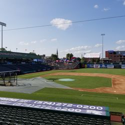 View looking toward left field from first base concourse