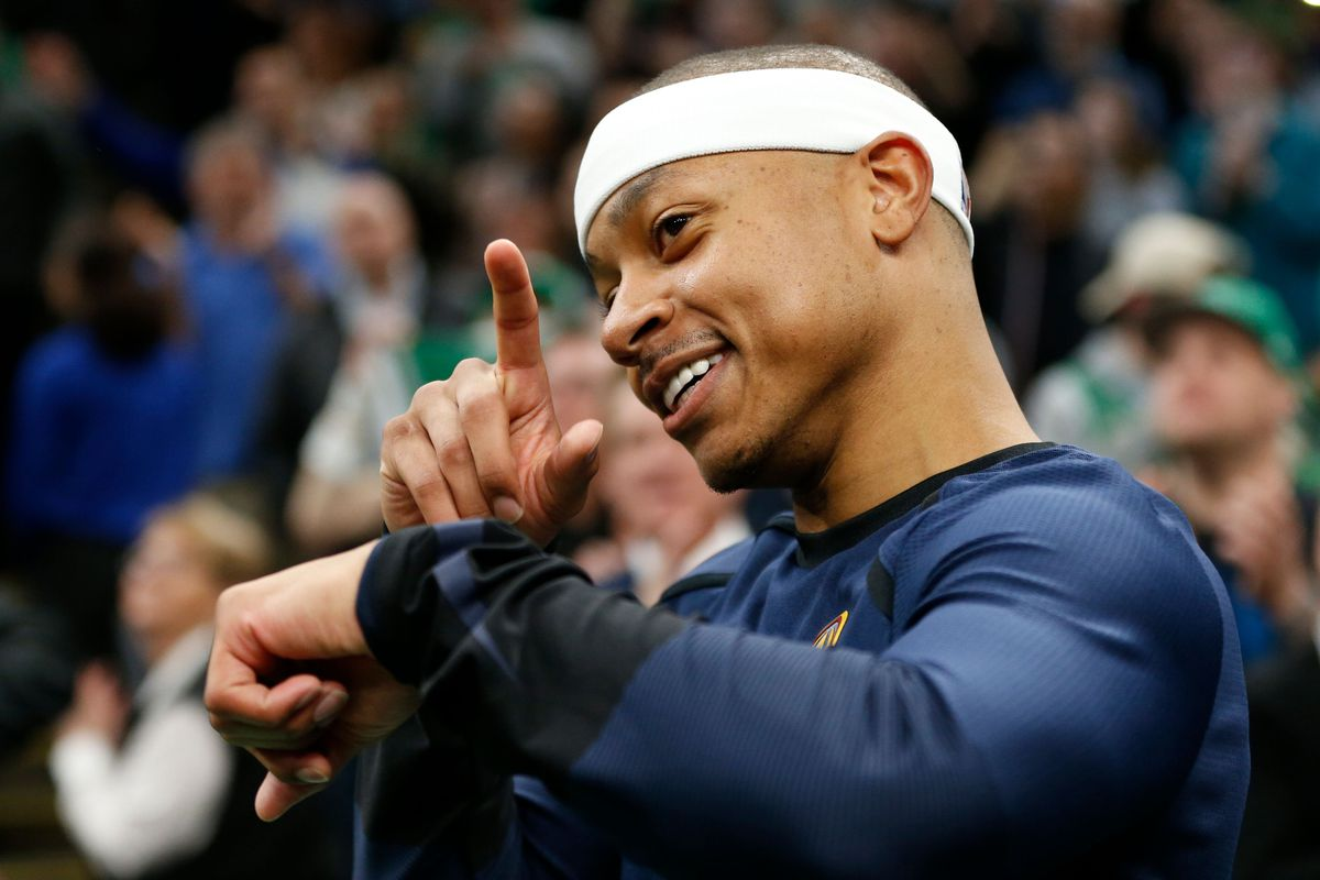 Denver Nuggets point guard Isaiah Thomas reacts after a tribute video for his time with the Boston Celtics during the first half at TD Garden.