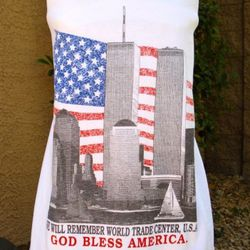 """World Trade Center """"<a href=""""http://www.etsy.com/listing/71563868/the-upcycled-tshirt-dress-world-trade"""" rel=""""nofollow"""">upcycled t-shirt dress</a>."""""""