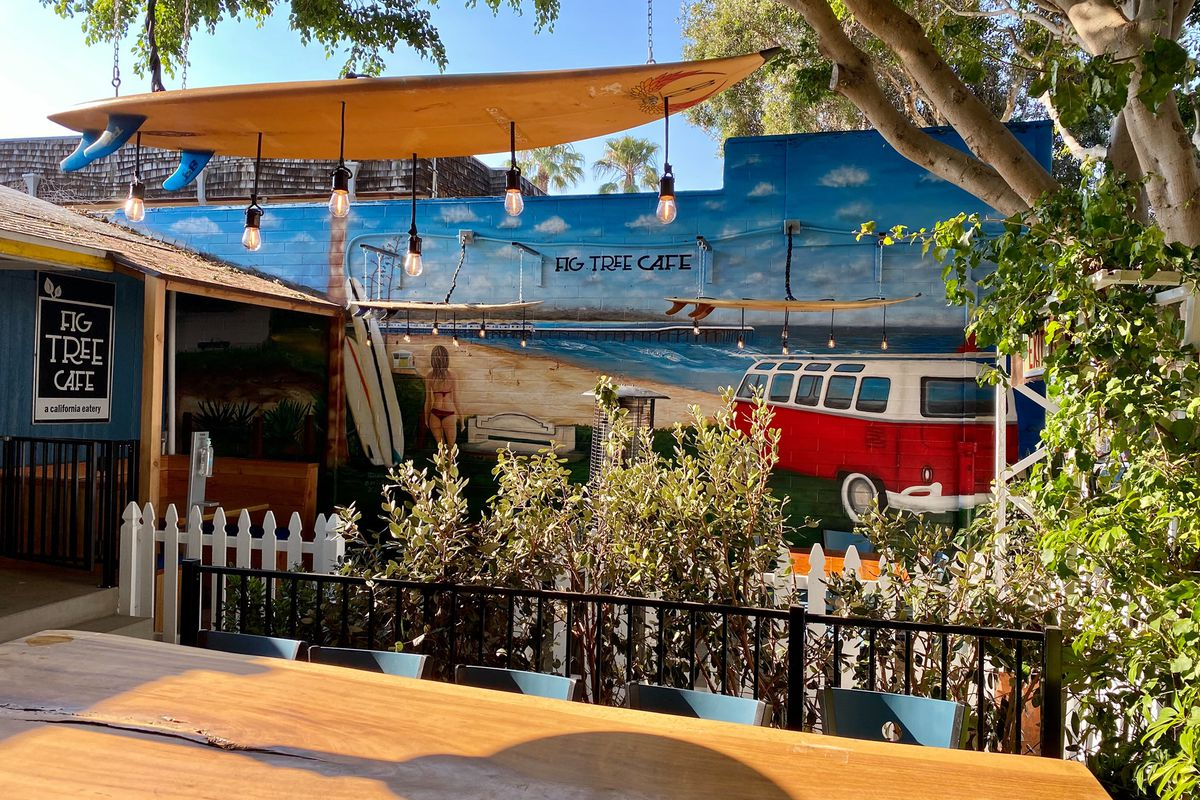 Surf-themed outdoor patio at Fig Tree Cafe in Pacific Beach