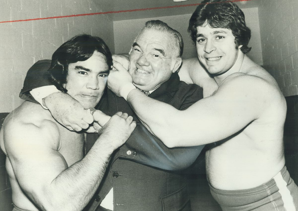 Whipper. Billy Watson clowns around with Rick Stemboat and Dino Bravo at Maple Leaf Gardens last nig