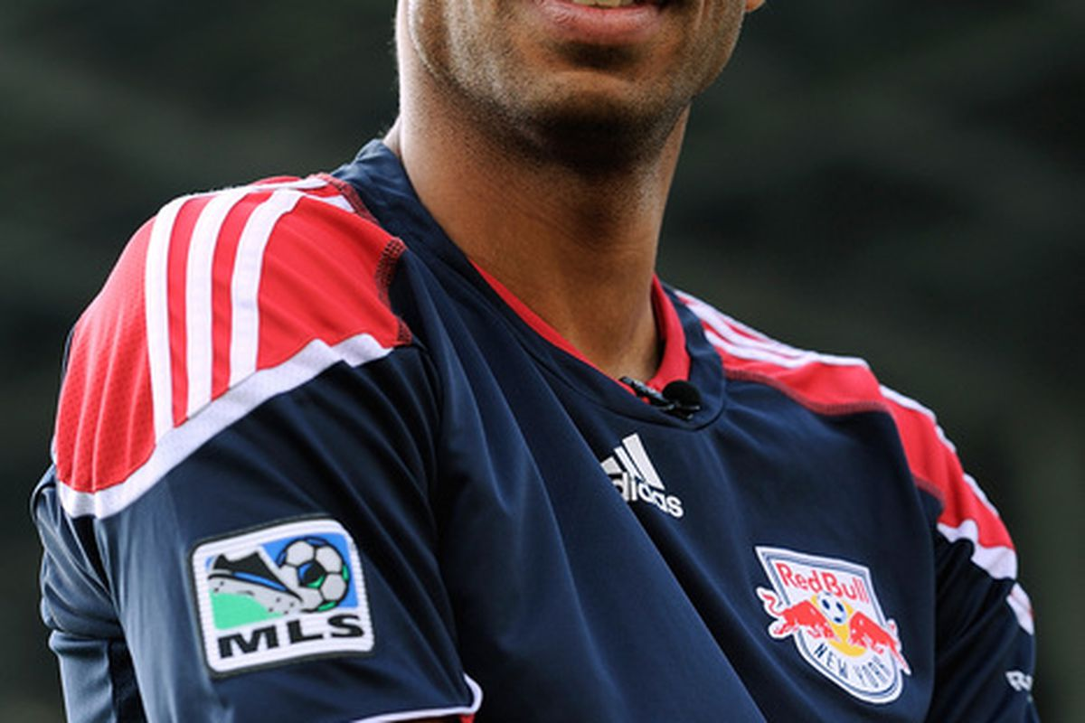 COLUMBUS OH - JULY 17:  Thierry Henry #14 of the New York Red Bulls looks off during a television interview before a game against the Columbus Crew on July 17 2010 at Crew Stadium in Columbus Ohio.  (Photo by Jamie Sabau/Getty Images)