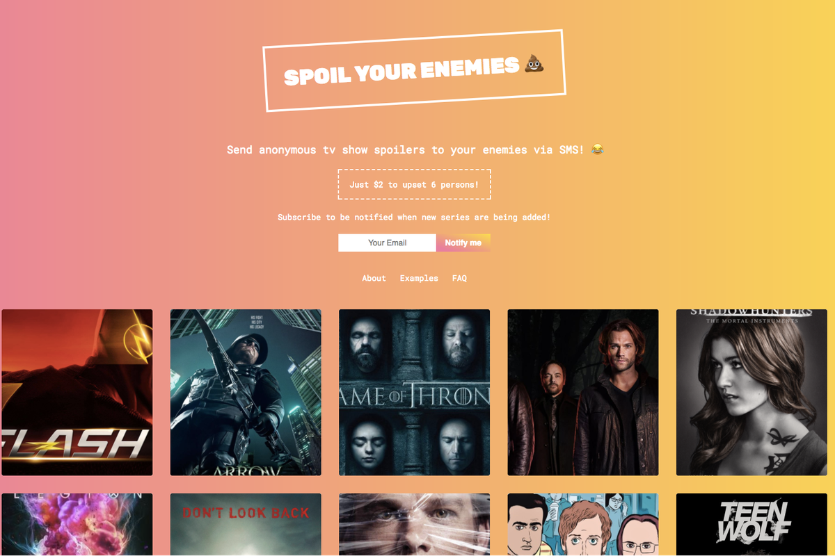 This new service promises to text your enemies TV spoilers