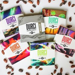 A promotional photo from Durci's launch in September 2015. Founder Eric Durtschi also owns Crio Bru, launched in 2010, which specializes in artisan drinking chocolate. Both products are made in Lindon.