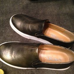 Leather slip-ons, $69