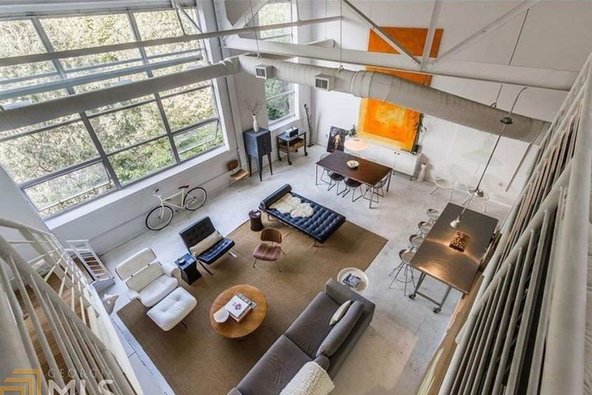 An overhead view of a Poncey-Highland loft for sale in Atlanta right now.