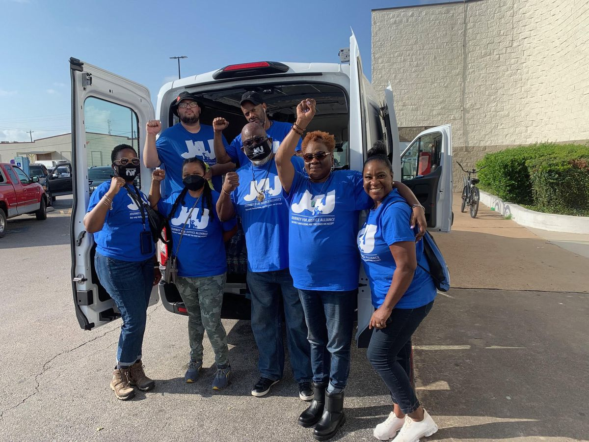 Partnering with the Louisiana NAACP to determine most needed items, besides tons of bottled water, the Chicago-based Journey For Justice organization rented three cargo vehicles in Houston to help in the relief effort.