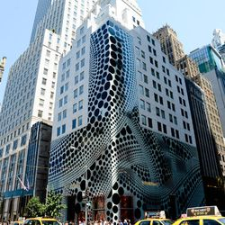 In honor of her collection, the Louis Vuitton building is now covered in polka-dots.