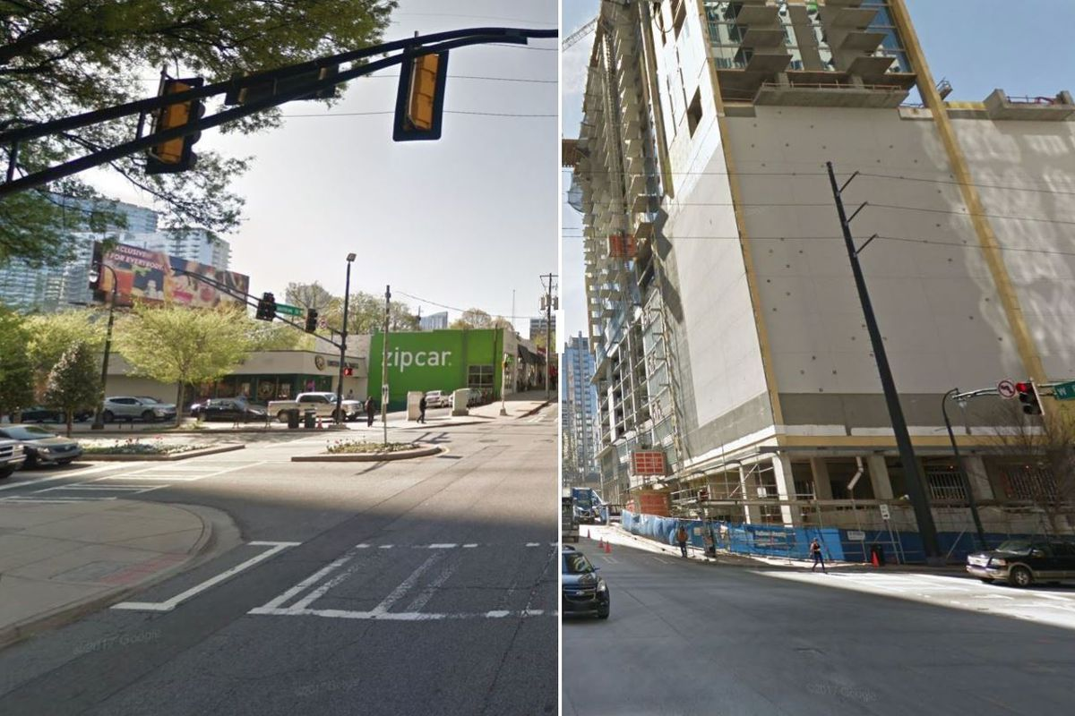 A split view of the intersection in 2014, with no towers, and 2017, with new construction.