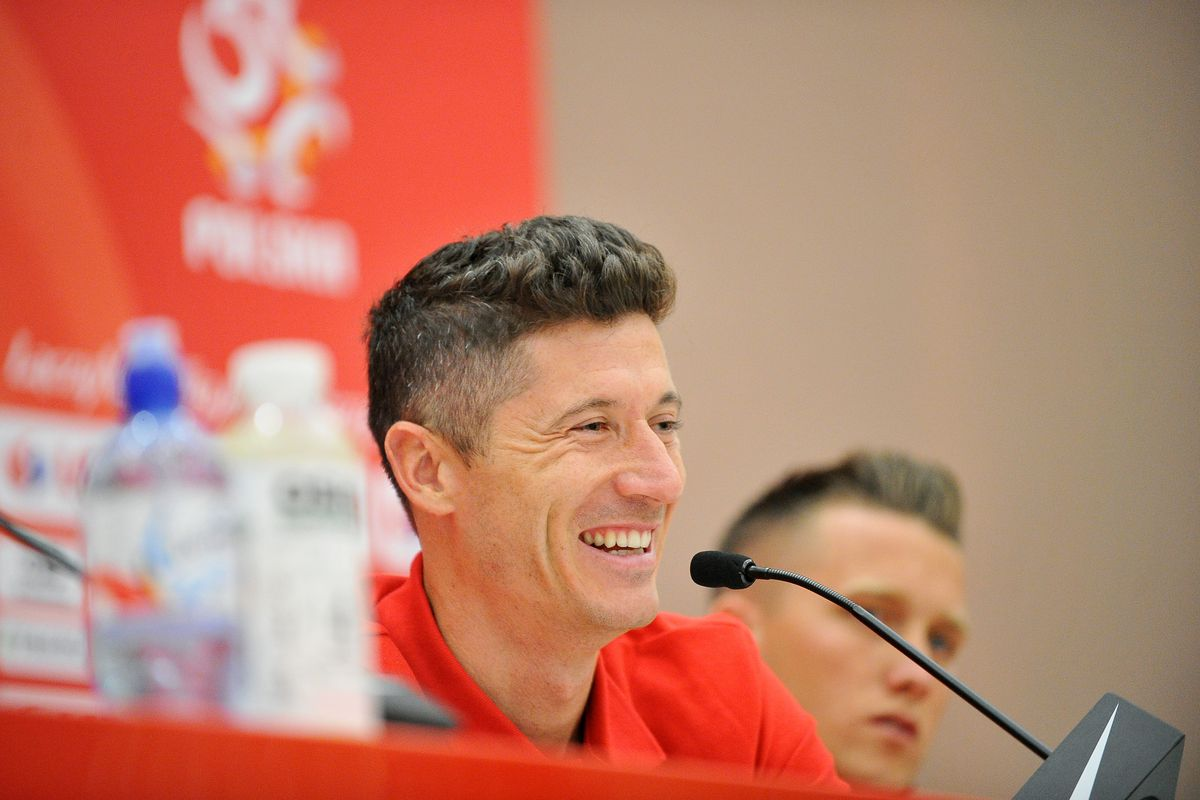 ARLAMOW, POLAND - MAY 30: Robert Lewandowski during press conference at Arlamow Hotel during the second phase of preparation for the 2018 FIFA World Cup Russia on May 30, 2018 in Arlamow, Poland.