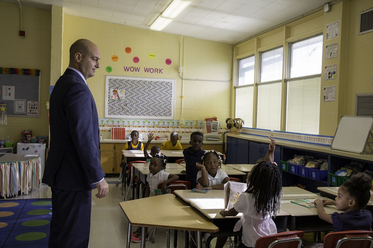 Superintendent Nikolai Vitti visits classrooms in Duval County, Florida on the first day of school in 2016.
