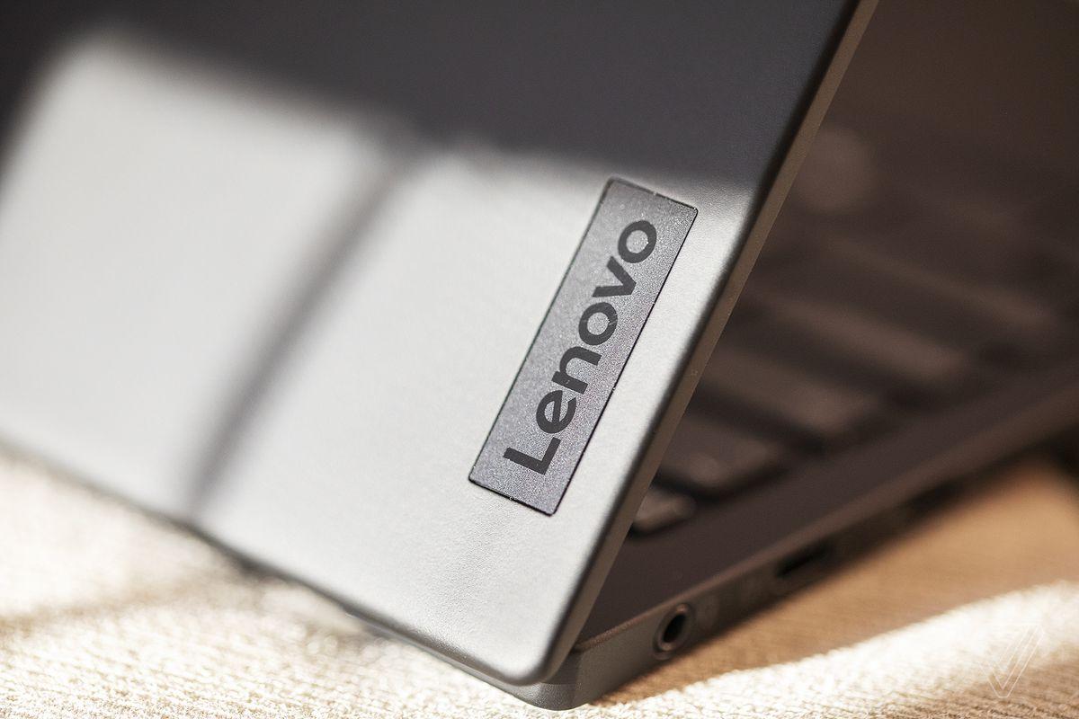 The Lenovo logo on the lid of the ThinkPad X1 Nano.