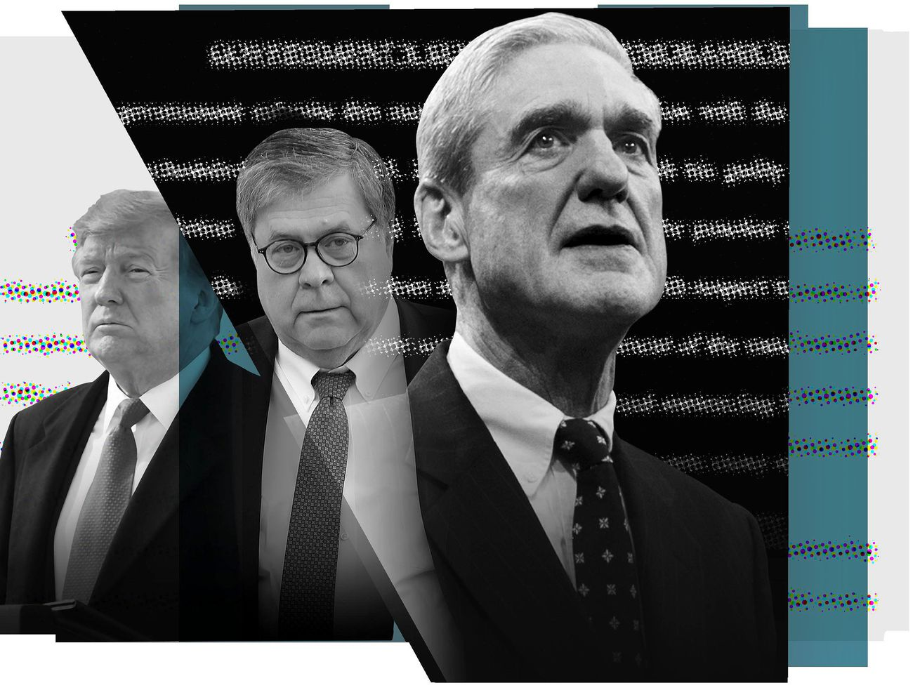 President Trump, William Barr, and Robert Mueller.
