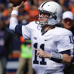 Penn State quarterback Matthew McGloin (11) passes during the second half of AN NCAA college football game against Illinois Saturday, Sept. 29, 2012, in Champaign, Ill. Penn State defeated Illinois 35-7.