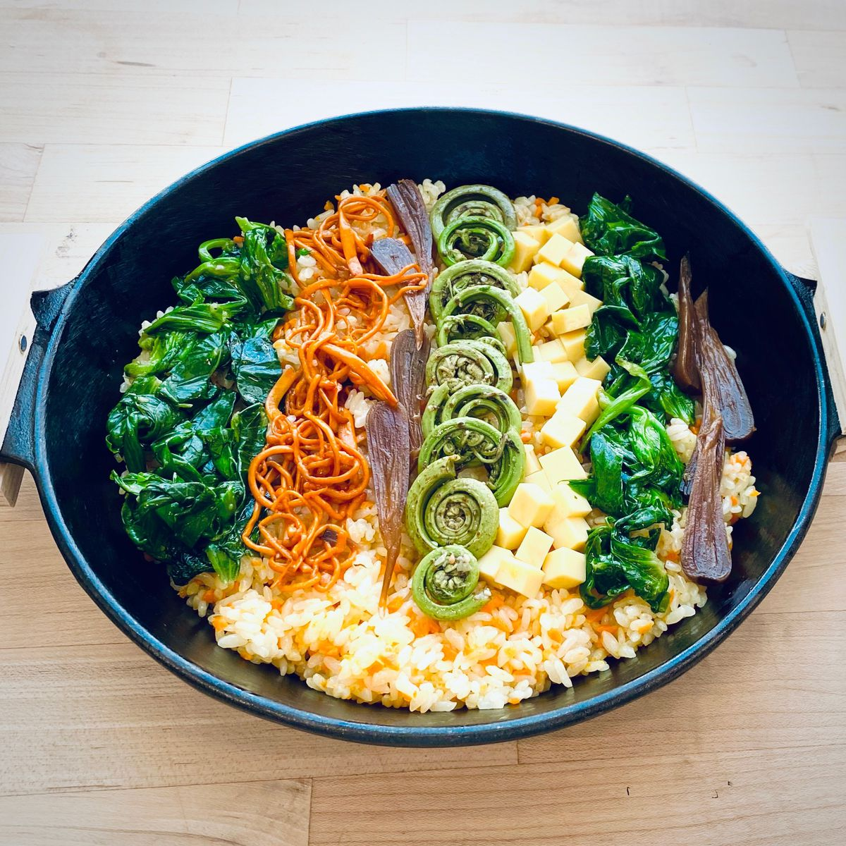 San Ho Won's spring bibimbap with ramps, fern, cordyceps, and pea leaves
