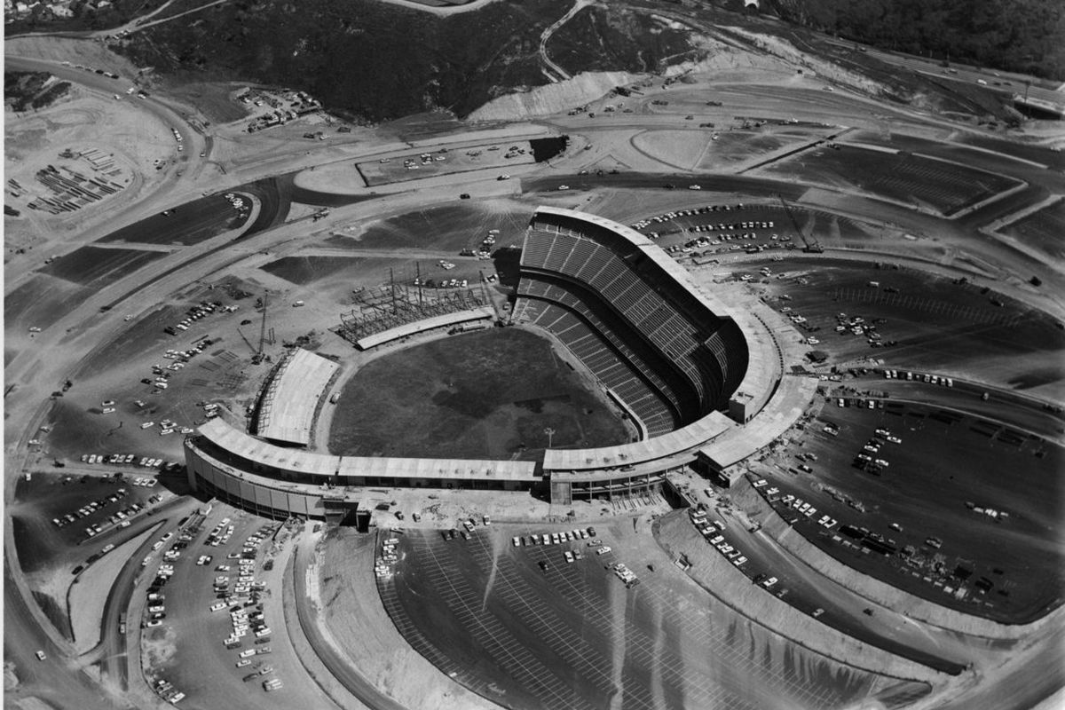 Overhead view of Dodger Stadium on March 2, 1962, which shows the construction of the outfield pavilions (<em>Photo: LA Dodgers</em>)