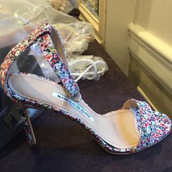 Printed fabric heel with hardware, size 37, $150