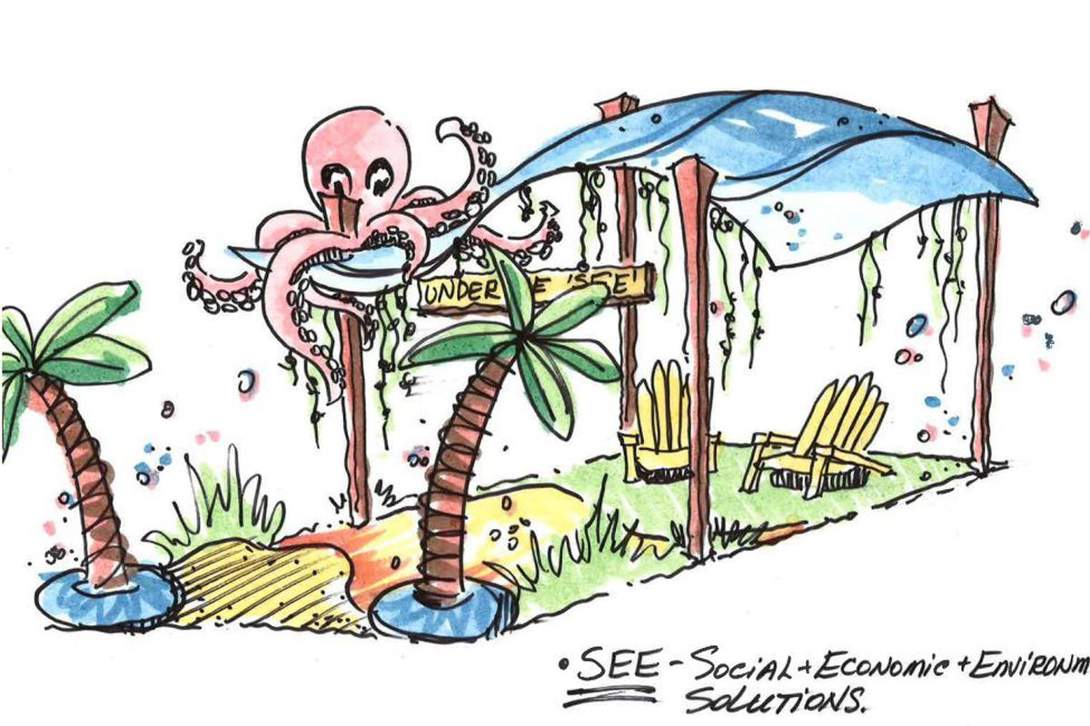 A sketch of a parking spot transformed into a beachy seating area, with palm trees, Adirondack chairs, and a fake octopus.