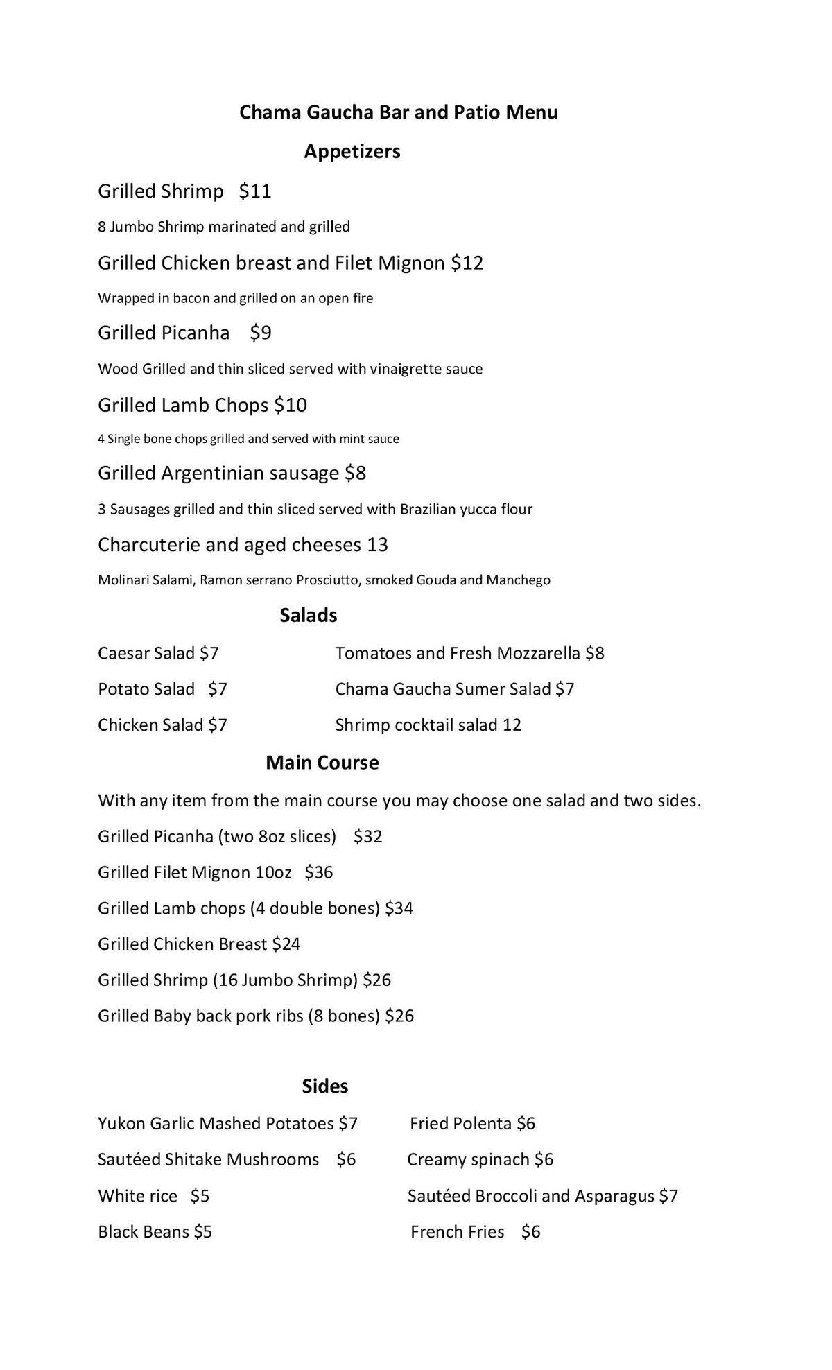 Chama Gaucha menu 2