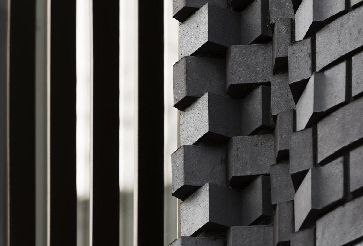 Close up of rotating bricks.