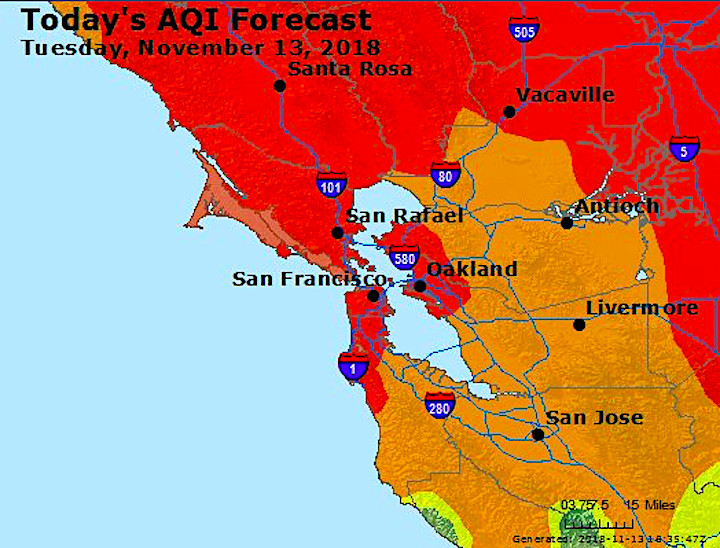 Northern California Fire Map 2018.San Francisco Bay Area Air Quality To Get Worse Curbed Sf