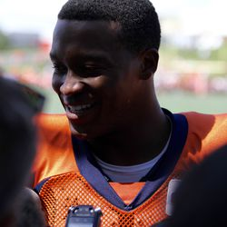 Denver Broncos WR Demaryius Thomas talks with the media after the joint practice with the San Francisco 49ers.