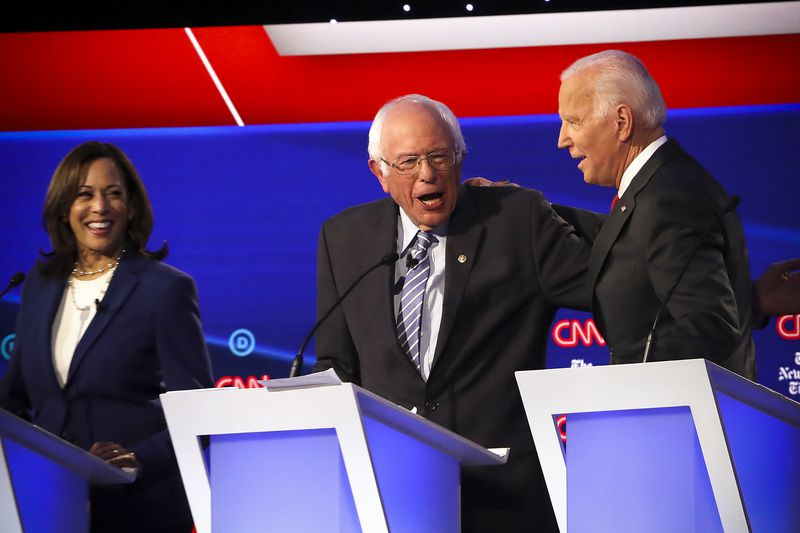 Sen. Kamala Harris (D-CA), Sen. Bernie Sanders (I-VT) and former Vice President Joe Biden during the Democratic presidential debate.
