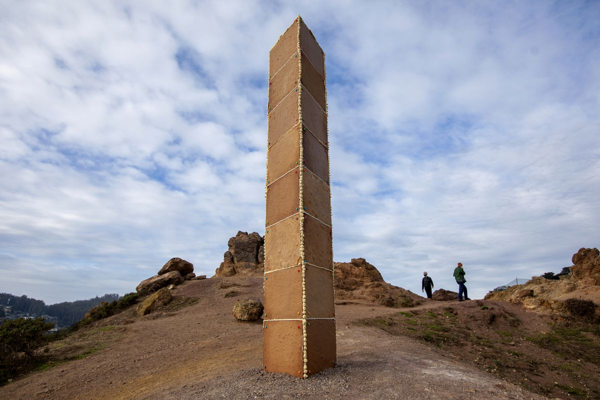 A gingerbread monolith stands on Christmas Day, Dec. 25, 2020, on a bluff in Corona Heights Park overlooking San Francisco.