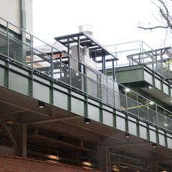 11:18 a.m. Grill portion of RF patio has been moved over, and is now temporarily stored in back of the bleachers -