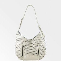 Olivia Harris perforated hobo bag in eggshell, $100 (was $398)