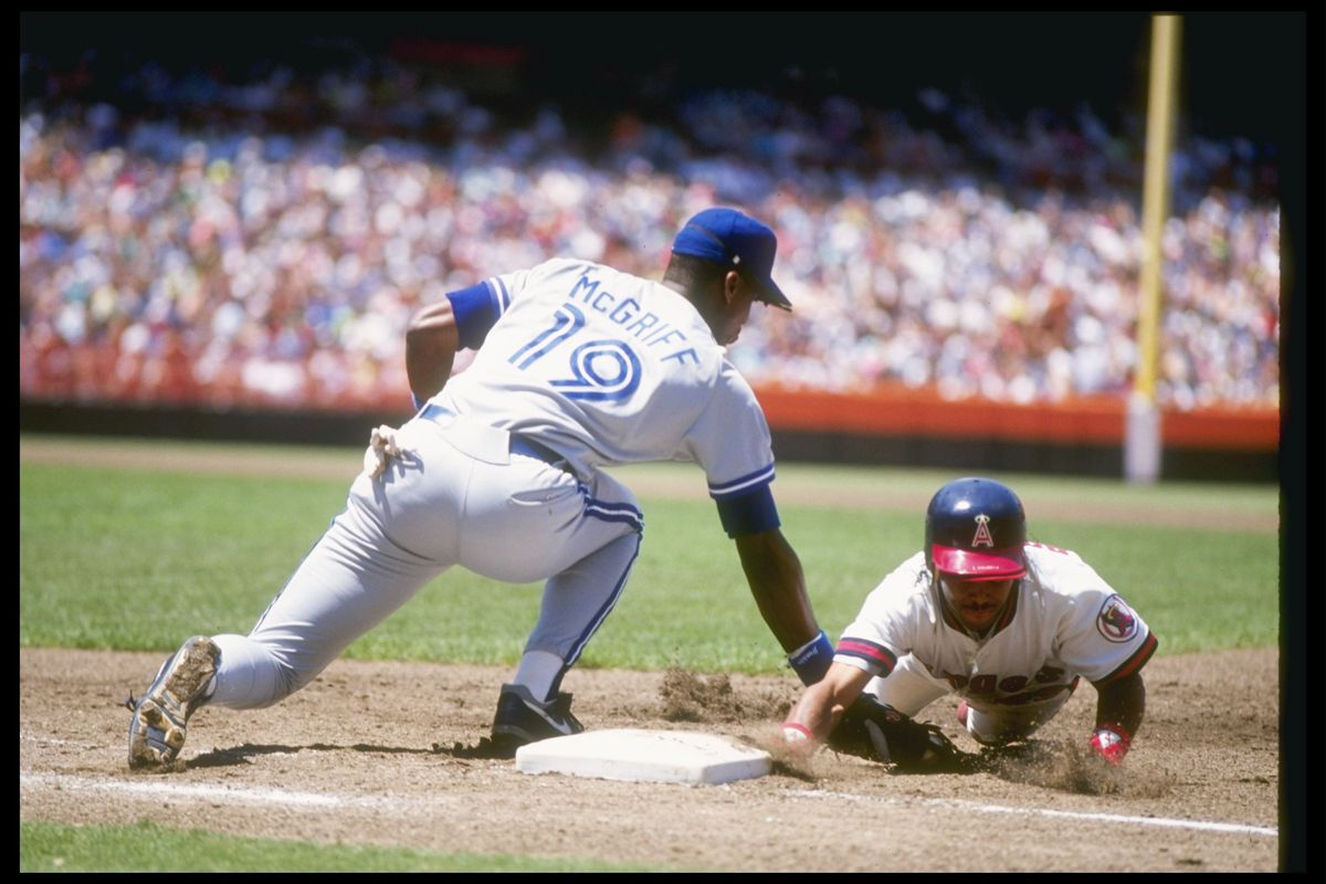 McGriff playing 1st for the Blue Jays
