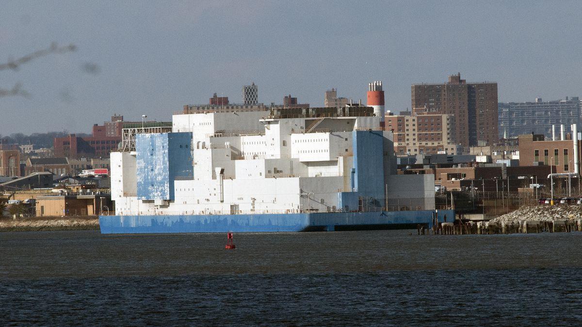 The Vernon C. Bain Correctional Center barge in The Bronx.