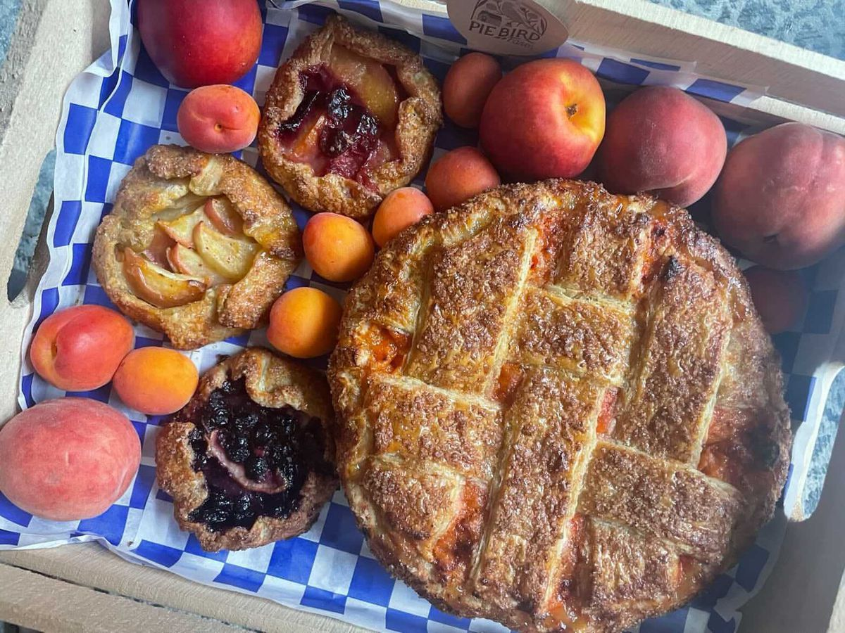 One big pie and three open-faced galettes sitting on a blue-and-white checkered sheet with apricots and peaches around.