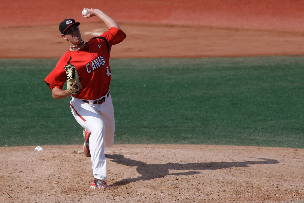 Ryan Kellogg, who pitched a no-hitter for ASU, plays for Canada in the 18U world championships last year.
