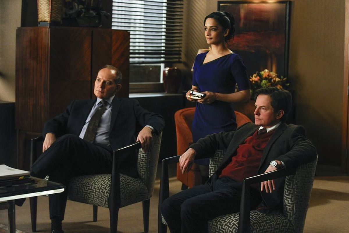 Louis Canning (Michael J. Fox, right) makes trouble on The Good Wife.