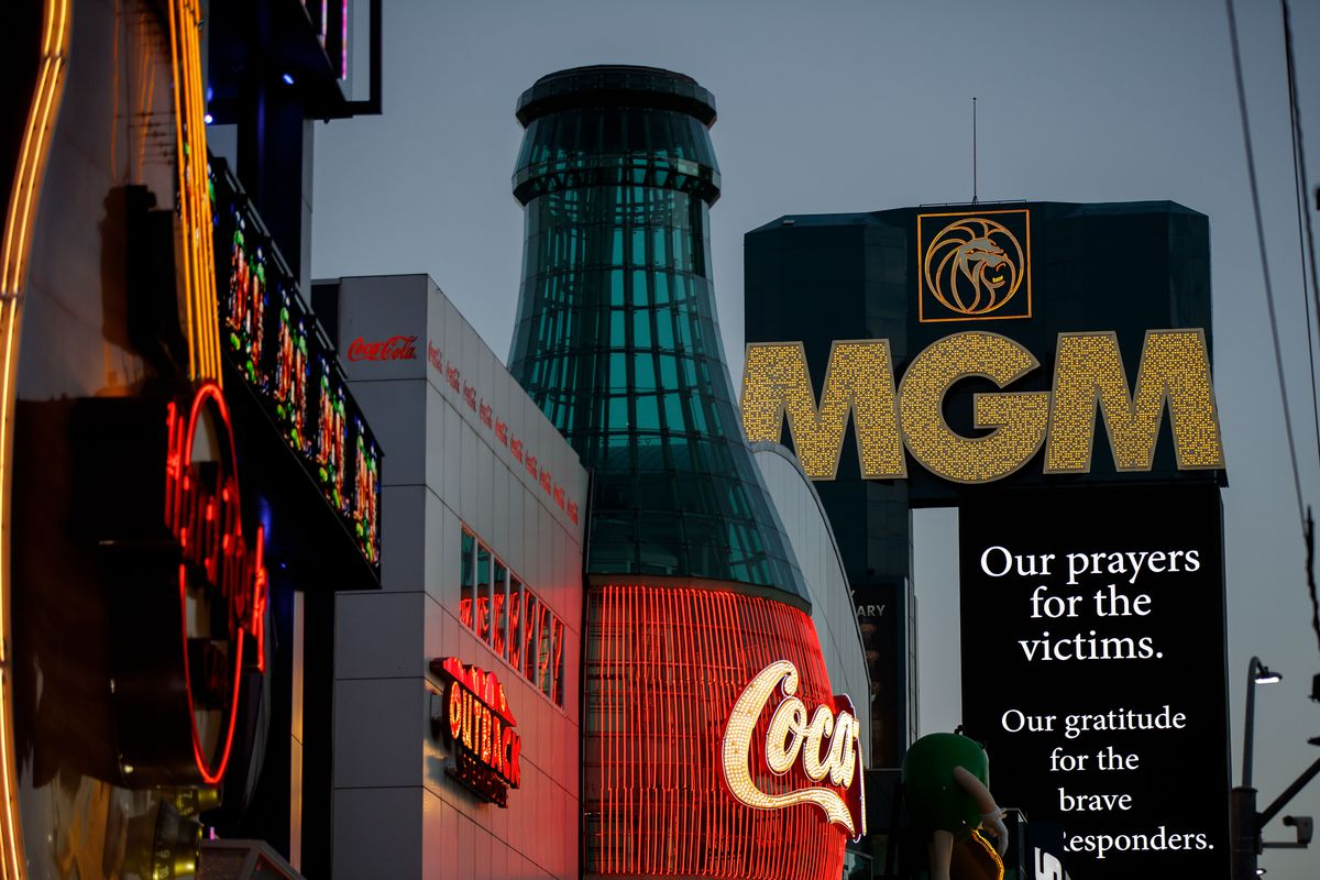 A message of condolences for the victims of Sunday night's mass shooting is displayed outside the MGM Grand Hotel & Casino, Oct. 3, 2017, in Las Vegas, Nev.