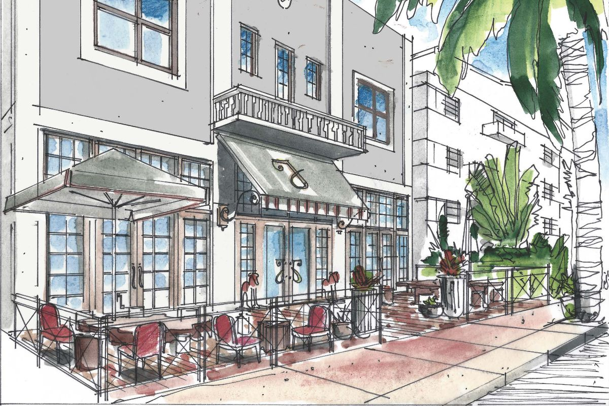 A traditional boutique hotel drawing in Miami Beach with a cafe out front