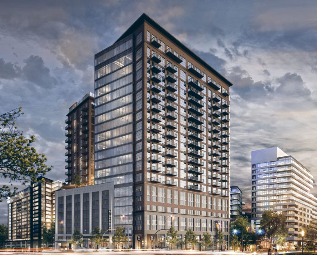 A rendering of a glassy 20 story apartment building.