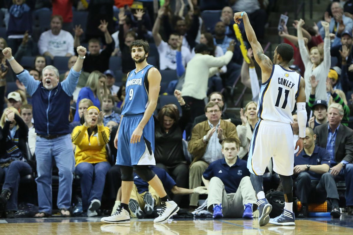 Conley drilled three three-pointers in the win over Minnesota on Monday