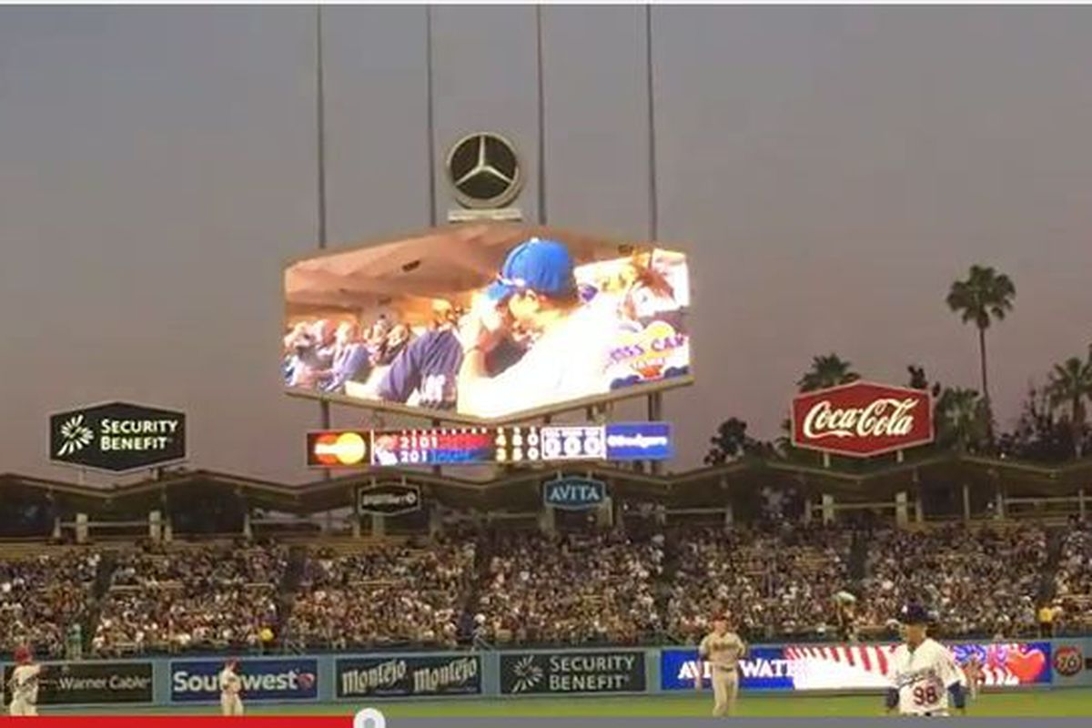 Male couple on the Dodgers' kiss cam