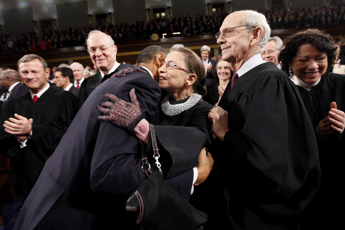 Barack Obama hugs Ruth Bader Ginsburg before delivering his 2011 State of the Union address.