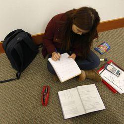 Student Hellan Lee studies at The University of Utah's J. Willard Marriott Library in Salt Lake City Wednesday, Jan. 21, 2015.