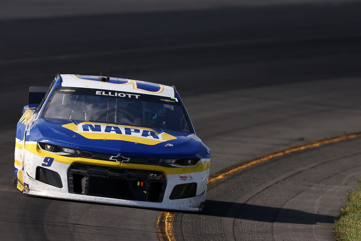 Chase Elliott, driver of the #9 NAPA Auto Parts Chevrolet, drives during the NASCAR Cup Series Explore the Pocono Mountains 350 at Pocono Raceway on June 27, 2021 in Long Pond, Pennsylvania.