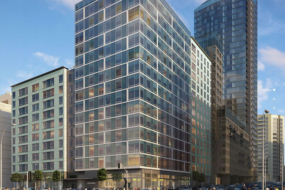 Renderings of a large, glass-encased building on Mission Street.
