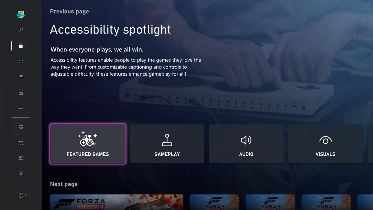 """Screenshot of Microsoft store titled """"Accessibility spotlight"""" showing categories for featured games, gameplay, audio, and visual features."""